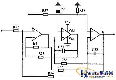 二级放大电路,50hz陷波器和增益调节电路四部分